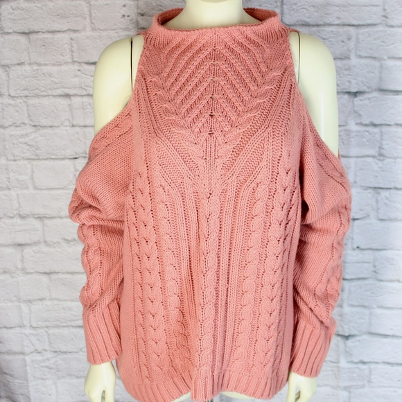 ea862bca28 Venus • Pink Knit Turtleneck Cold Shoulder Sweater.  M 5ac2ffd2daa8f69b759f1882